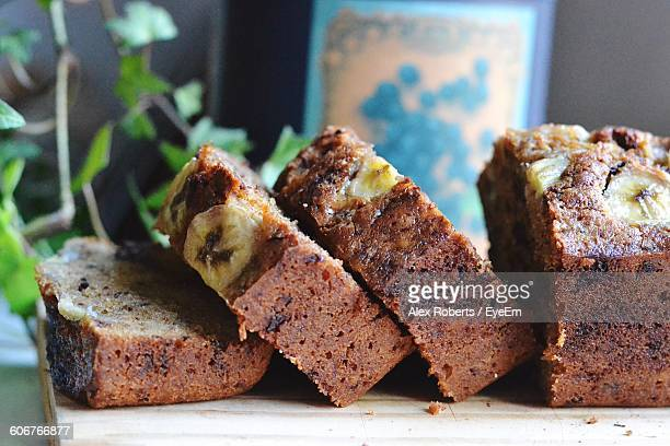 Banana Bread Slices On Table