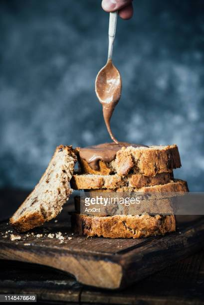banana bread with nut butter - nut food stock pictures, royalty-free photos & images
