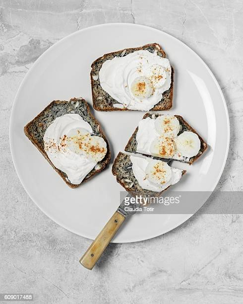 Banana bread with whipped cream