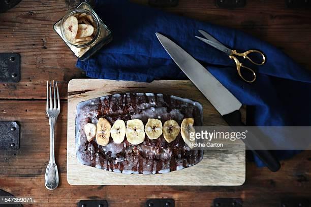 banana cake still life - rekha garton stock pictures, royalty-free photos & images