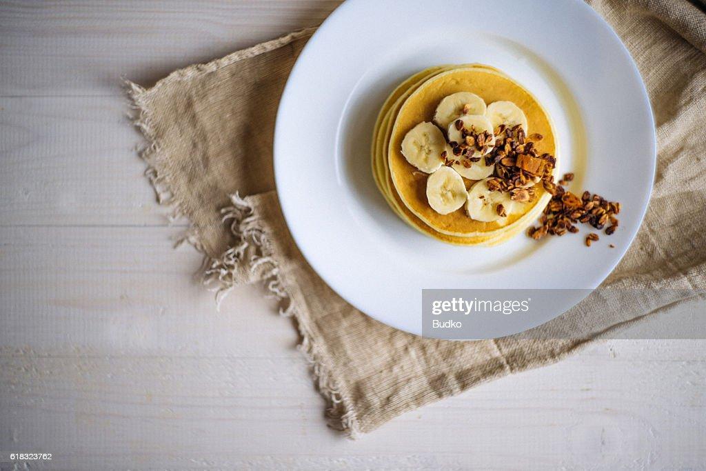 Banana Granola Pancakes : Stock Photo
