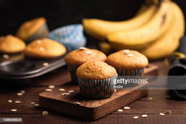 banana muffins with oats - muffin stock pictures, royalty-free photos & images