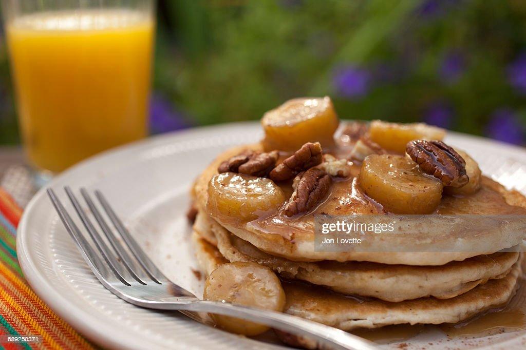 Banana Pancakes at Breakfast : Stock Photo