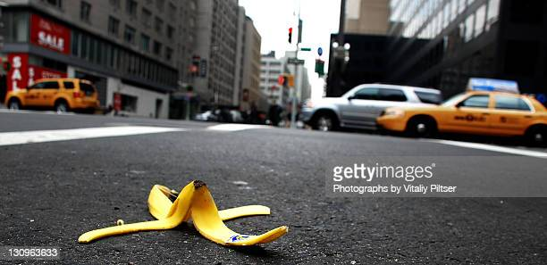 Banana peel on New York City street