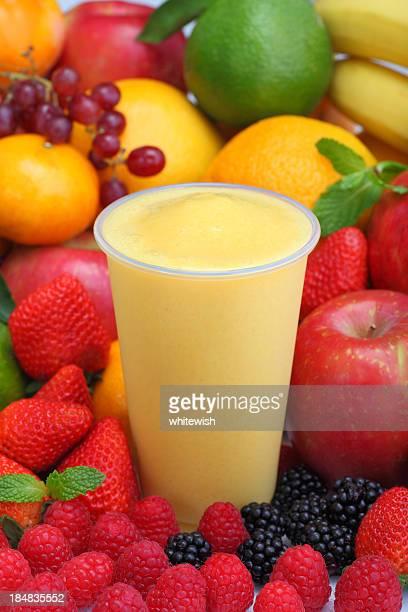 banana pineapple smoothie - slush stock photos and pictures