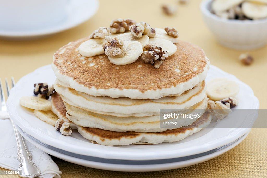 Banana Walnut Pancakes : Stock Photo