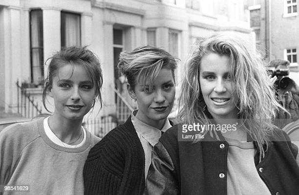 Bananarama pictured outside SARM Studios in Notting Hill London during the recording of the Band Aid single 'Do They Know It's Christmas' part of the...