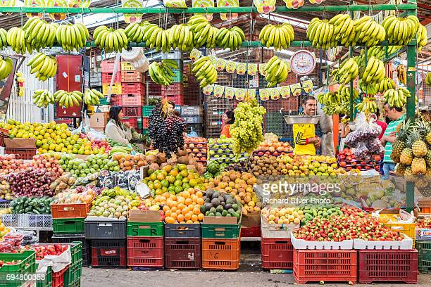 Bananas and fruits at Paloquemao Market in Bogota Colombia