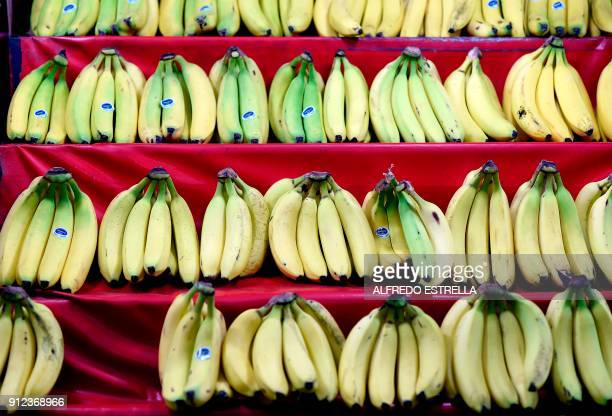 Bananas are on display at the 'Central de Abasto' wholesale market in Mexico City on January 30 2018 Until the first half of January consumer prices...