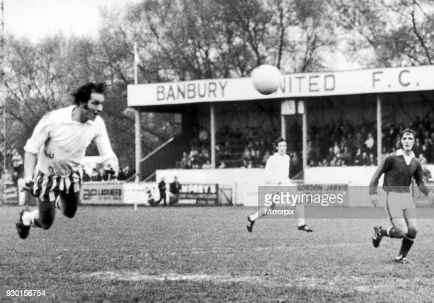 Banbury United v Yarmouth 3rd March 1973 Banbury centre forward Tony Jacques flies through the air to head home second goal from a cross from Cassidy