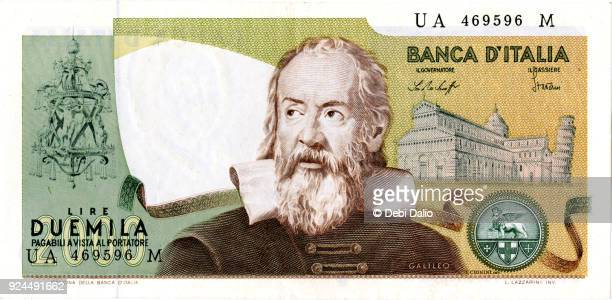 banca d'italia 2000 lire galileo note front - italian currency stock pictures, royalty-free photos & images