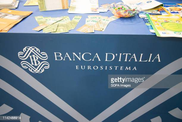 Banca d'italia sign and logo seen during the 32nd edition of the TFair. The International Book Fair is the most important Italian event in the...