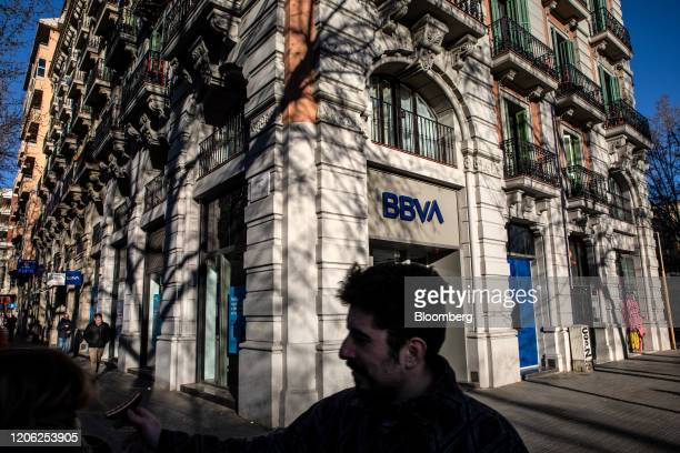 A Banco Bilbao Vizcaya Argentaria SA bank branch stands in Barcelona Spain on Saturday March 7 2020 Spanish bank shares soared after the European...