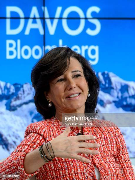Banco Santander Chairman Ana Botin gestures as she speaks during a session of the World Economic Forum annual meeting on January 22 2015 in Davos AFP...
