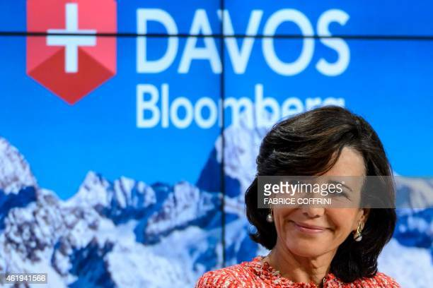 Banco Santander Chairman Ana Botin smiles during a session of the World Economic Forum annual meeting on January 22 2015 in Davos AFP PHOTO / FABRICE...