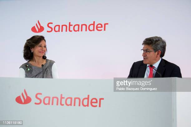 Banco Santander Chairman Ana Patricia Botin and bank's chief executive officer Jose Antonio Alvarez attend a news conference to announce the 2018...