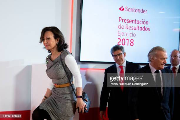 Banco Santander Chairman Ana Patricia Botin and bank's chief executive officer Jose Antonio Alvarez arrive to a news conference to announce the 2018...