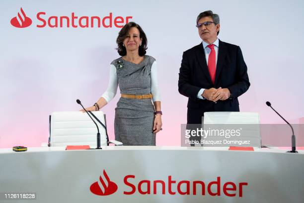 Banco Santander Chairman Ana Patricia Botin and bank's chief executive officer Jose Antonio Alvarez pose for the press as they arrive to a news...