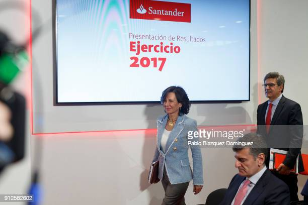 Banco Santander Chairman Ana Patricia Botin and chief executive officer Jose Antonio Alvarez arrive to a news conference to announce the 2017 results...