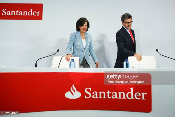 Banco Santander Chairman Ana Patricia Botin and chief executive officer Jose Antonio Alvarez attend a news conference to announce the 2017 results at...