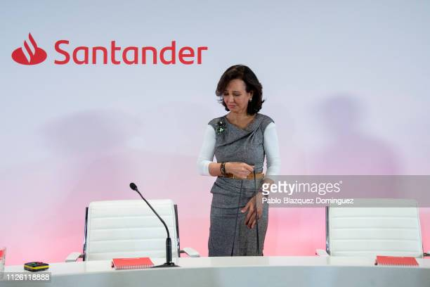 Banco Santander Chairman Ana Patricia Botin arrive to a news conference to announce the 2018 results at the bank's headquarters on January 30 2019 in...