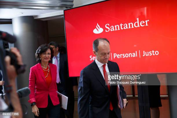 Banco Santander Chairman Ana Patricia Botin arrives a news conference at the Bank's Castellana building on June 7 2017 in Madrid Spain Banco...
