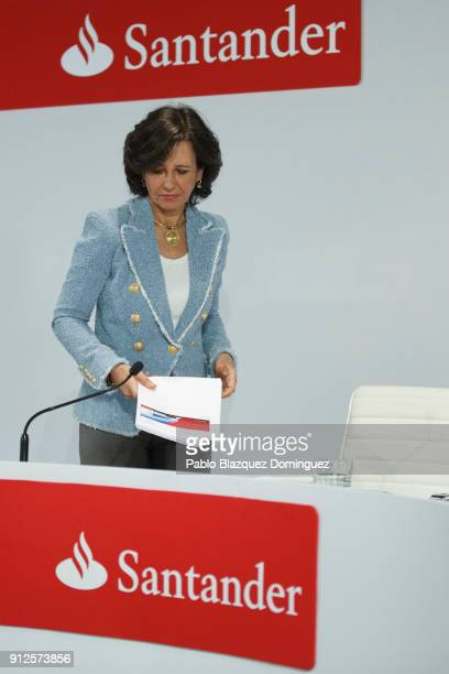 Banco Santander Chairman Ana Patricia Botin arrives to a news conference to announce the 2017 results at the bank's headquarters on January 31 2018...
