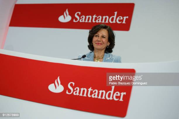 Banco Santander Chairman Ana Patricia Botin attends a news conference to announce the 2017 results at the bank's headquarters on January 31 2018 in...