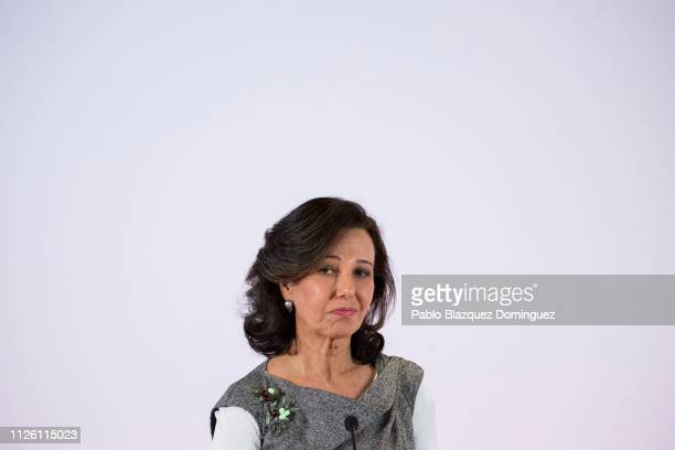 Banco Santander Chairman Ana Patricia Botin looks on during a news conference to announce the 2018 results at the bank's headquarters on January 30...