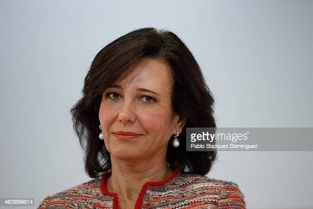 Banco Santander Chairman Ana Patricia Botin looks on during a news conference to announce the 2014 results at the bank's headquarters on February 3...