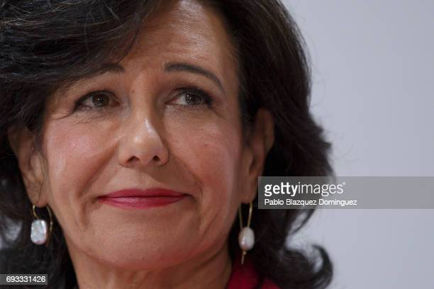 Banco Santander Chairman Ana Patricia Botin looks on during a news conference at the Bank's Castellana building on June 7 2017 in Madrid Spain Banco...