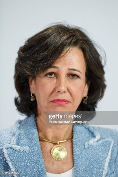 Banco Santander Chairman Ana Patricia Botin looks on during a news conference to announce the 2017 results at the bank's headquarters on January 31...