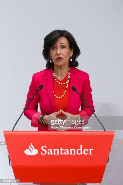 Banco Santander Chairman Ana Patricia Botin speaks during a news conference at the Bank's Castellana building on June 7 2017 in Madrid Spain Banco...