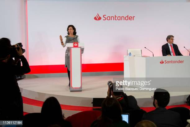 Banco Santander Chairman Ana Patricia Botin speaks during a news conference to announce the 2018 results at the bank's headquarters on January 30...