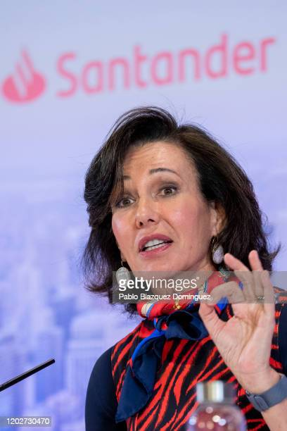 Banco Santander Chairman Ana Patricia Botin speaks during a news conference to announce the 2019 results at the bank's headquarters on January 29...
