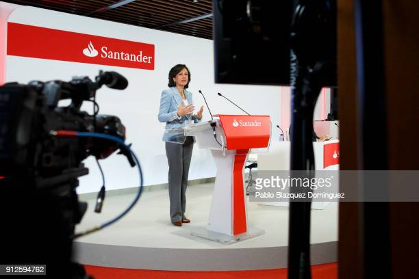 Banco Santander Chairman Ana Patricia Botin speaks during a news conference to announce the 2017 results at the bank's headquarters on January 31...