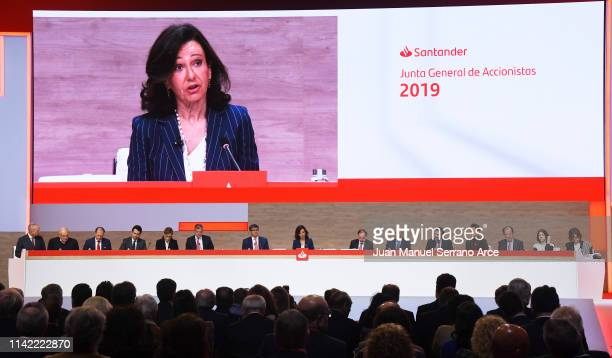 Banco Santander Chairman Ana Patricia Botin speaks during the annual shareholders meeting at the Palacio Exposiciones on April 12 2019 in Santander...