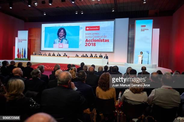 Banco Santander Chairman Ana Patricia Botin speaks during the Santander Bank Shareholders Meeting on March 23 2018 in Santander Spain
