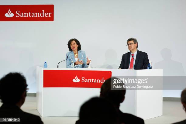 Banco Santander Chairman Ana Patricia Botin speaks next to the bank's chief executive officer Jose Antonio Alvarez during a news conference to...