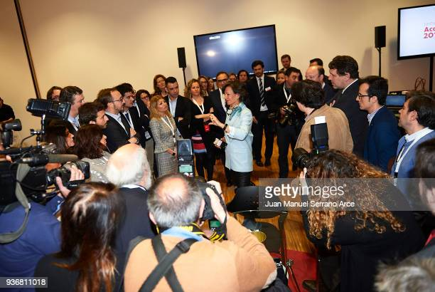Banco Santander Chairman Ana Patricia Botin speaks to the press prior to the Santander Bank Shareholders Meeting on March 23 2018 in Santander Spain