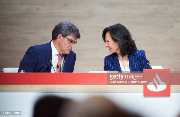 Banco Santander Chairman Ana Patricia Botin speaks with Banco Santander chief executive officer Jose Antonio Alvarez during the annual shareholders...