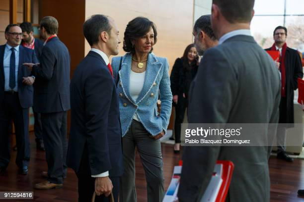 Banco Santander Chairman Ana Patricia Botin speaks with people after a news conference to announce the 2017 results at the bank's headquarters on...