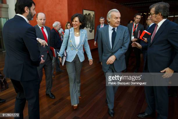Banco Santander Chairman Ana Patricia Botin walks after a news conference to announce the 2017 results at the bank's headquarters on January 31 2018...