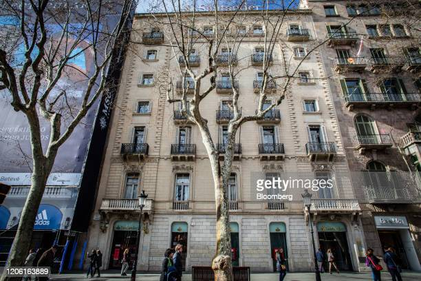 A Banco Santander SA bank branch stands in Barcelona Spain on Friday March 6 2020 Spanish bank shares soared after the European Unions top court sent...