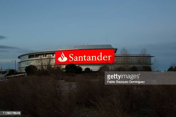 Banco Santander's building stands near the bank's headquarters before a news conference to announce the 2018 results on January 30, 2019 in Boadilla...