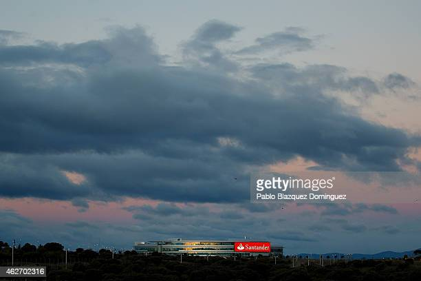 Banco Santander's building stands near the bank's headquarters before a news conference to announce the 2014 results on February 3 2015 in Boadilla...