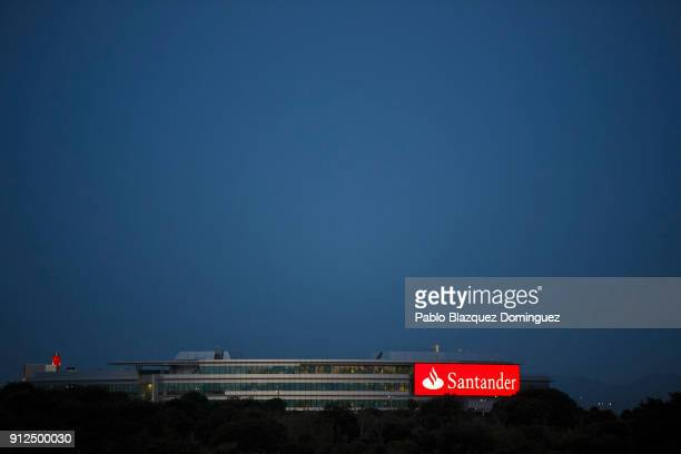 Banco Santander's building stands near the bank's headquarters before a news conference to announce the 2017 results on January 31 2018 in Boadilla...