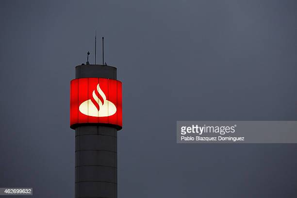 Banco Santander's logo stands at the bank's headquarters on February 2 2015 in Boadilla del Monte near Madrid Spain The eurozone's largest bank...