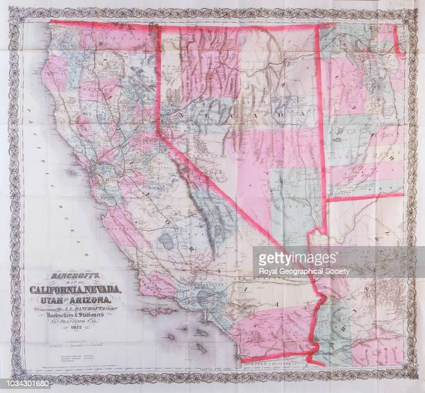 Bancroft's map of California Nevada Utah and Arizona San Francisco A L Bancroft and Co 1872 Scale 11000 Shows railroads completed and proposed and...