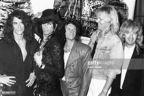 Band 'Aerosmith' including lead singer Steven Tyler attending the MTV Video Music Awards in Los Angeles September 7th 1988